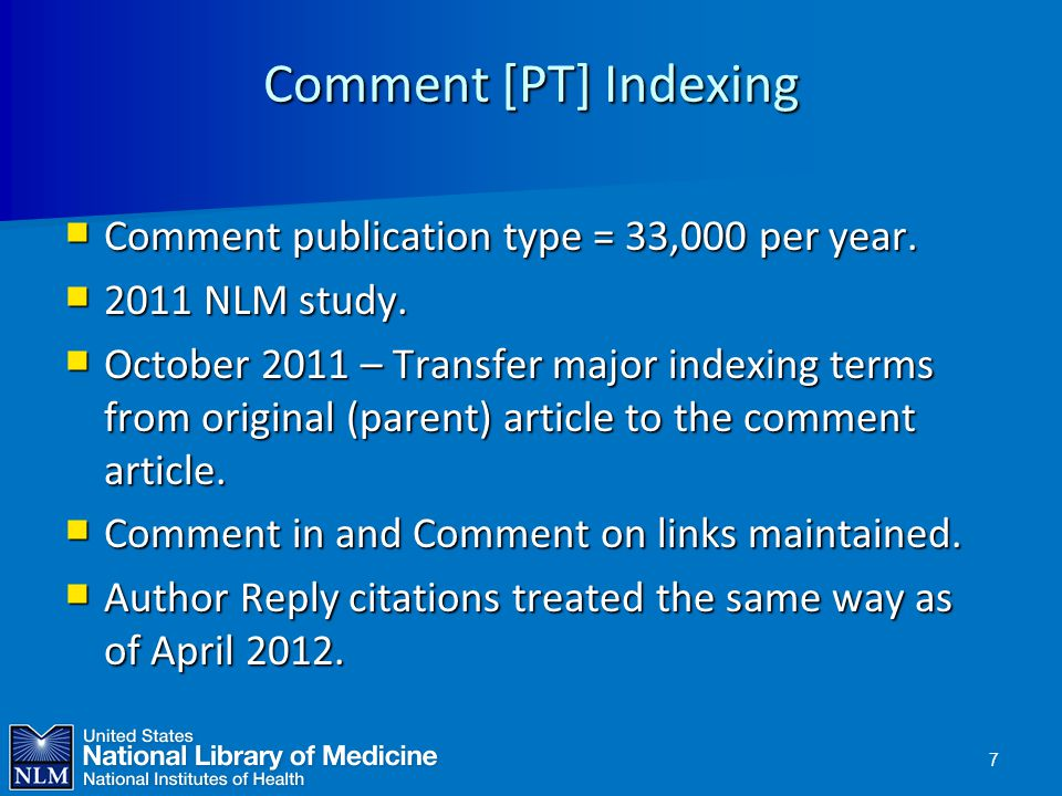 Comment [PT] Indexing Comment publication type = 33,000 per year.
